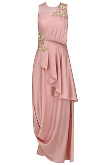 Blush Pink Embroidered Drape Gown
