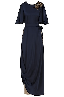 Midnight Blue Embroidered Tunic with Trousers and Belt by Prerana Nagpal