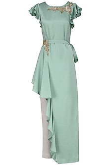 Mint Green Asymmetrical Embroidered Tunic with Trousers and Belt by Prerana Nagpal