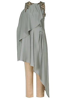 Pearl Grey Layered Embroidered Tunic with Trousers