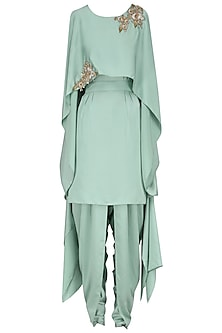 Mint Green Cape Style Embroidered Tunic with A Wrap Tulip Salwar