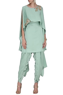 Mint Green Cape Style Embroidered Tunic with A Wrap Tulip Salwar by Prerana Nagpal