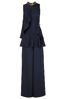 Midnight Blue Embroidered Peplum Top with Wide Leg Pants by Prerana Nagpal