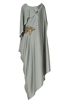 Pearl Grey Embroidered Kaftan Tunic with Trousers by Prerana Nagpal
