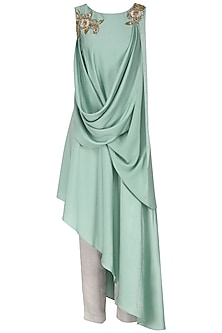 Mint Green Embroidered Asymmetrical Hem Tunic with Trousers