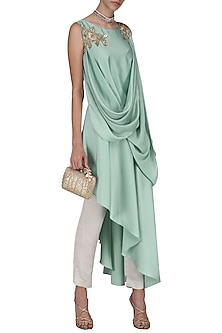 Mint Green Embroidered Asymmetrical Hem Tunic with Trousers by Prerana Nagpal