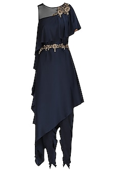 Midnight Blue Asymmetrical Embroidered Tunic with Wrap Tulip Salwar