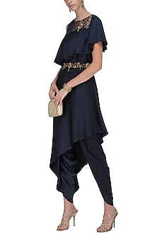 Midnight Blue Asymmetrical Embroidered Tunic with Wrap Tulip Salwar by Prerana Nagpal