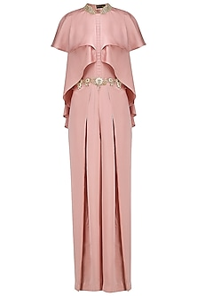 Blush Pink Embroidered Jumpsuit by Prerana Nagpal