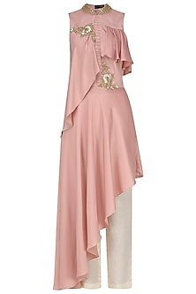 Blush Pink Asymmetrical Embroidered Drop Shoulder Tunic with Trousers