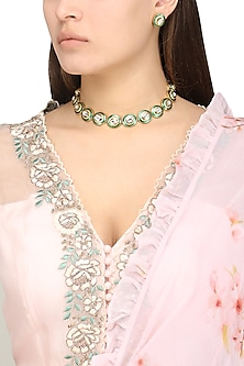 Gold Plated Kundan and Green Enamel Choker Necklace Set