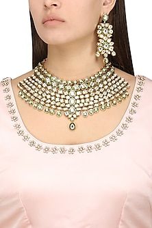 Gold Plated Kundan and Green Enamel Necklace Set