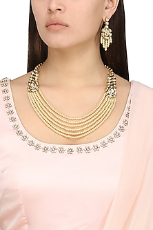 Gold Plated Kundan and Pearls Necklace Set by Polki Box