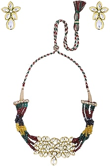 Gold Plated Kundan and Multi-Colour Pearls Choker Necklace Set by Polki Box