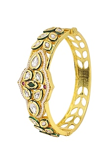 Gold Plated Kundan and Pearls Bracelet by Polki Box