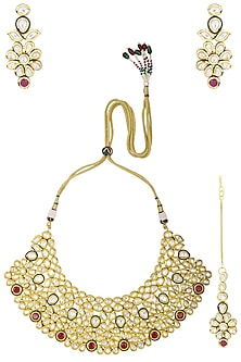 Gold Plated Kundan and Red Stones Necklace Set by Polki Box