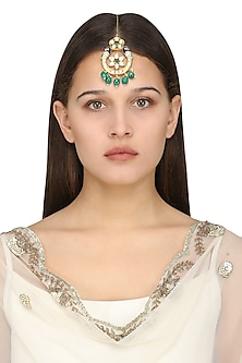 Gold Plated Kundan and Green Beads Peacock Maangtika by Polki Box