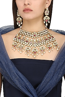 Gold Plated White and Red Kundan and Pearls Necklace Set