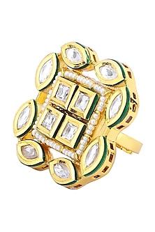 Gold Plated Kundan and Pearls Ring by Polki Box
