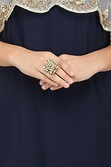 Gold Plated Kundan and Pearls Ring