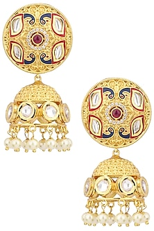Gold Plated American Diamond and Pearl Earrings by Polki Box
