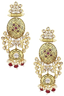 Gold Plated American Diamond and Polki Earrings by Polki Box