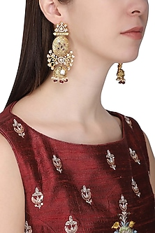 Gold Plated American Diamond and Polki Earrings