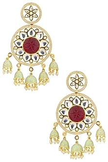 Gold Plated American Diamond and Pearl Jhumki Earrings by Polki Box