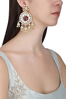Gold Plated American Diamond and Pearl Jhumki Earrings