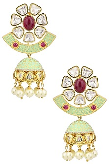 Gold Plated American Diamond Earrings by Polki Box