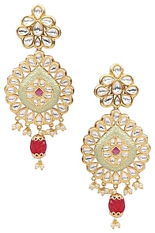 Gold Plated American Diamond and Polki Drop Earrings by Polki Box