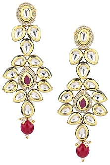 Gold Plated Red Drop Polki Earrings by Polki Box