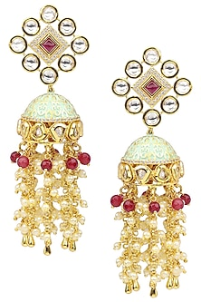 Gold Plated Pearls Diagonal Earrings by Polki Box
