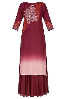 Deep pink ombre embroidered kurta set