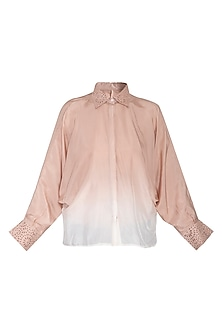 Chestnut ombre cutwork shirt by POULI