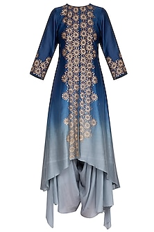 Deep blue embroidered kurta with pants