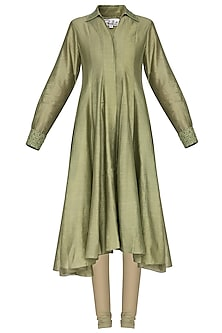 Light olive embroidered kurta with pants