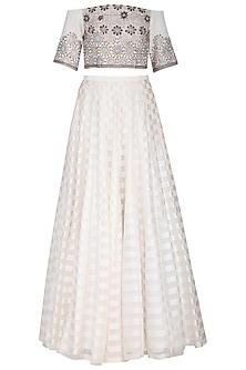 Off white embroidered lehenga set