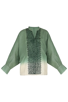 Deep sage green embroidered shirt