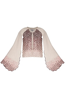 Off white embroidered cape jacket by POULI