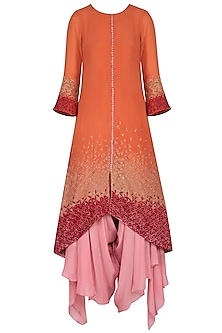 Coral embroidered kurta set