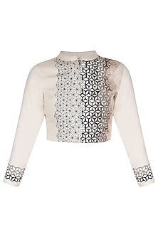 Off white embroidered bolero jacket by POULI