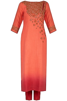 Coral embroidered ombre kurta set
