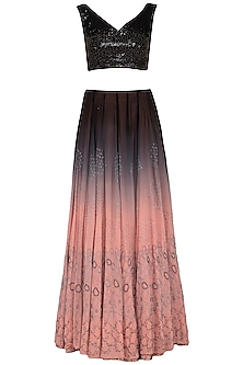 Black and pink ombre embroidered lehenga set