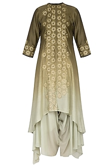 Olive green ombre embroidered kurta with pants