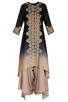 Black Hand Embroidered Ombre Kurta With Draped Crotch Pants by POULI