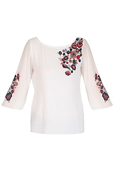 White Embroidered Dyed Top by POULI