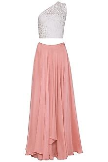 White One Shoulder Ruched Top with Pink Layered Skirt