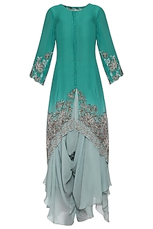 Light Teal Ombre Double Layered Kurta Set by POULI