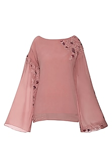 Pink Embroidered Gathered Top
